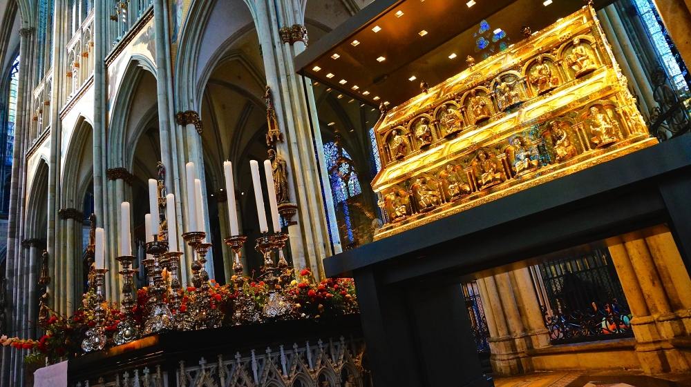 The Golden Sarcophagus of the Three Magi or the Three Kings inside Cologne Cathedral