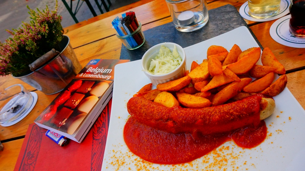 My Currywurst experience at Bonn, dining al fresco.
